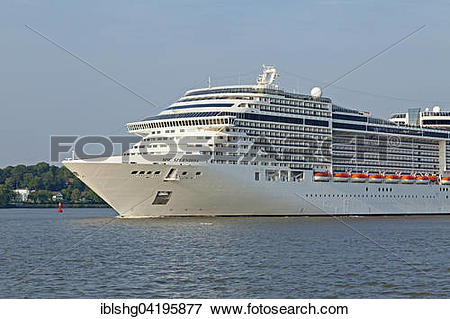 Picture of Cruise ship MSC Splendida on the Elbe, Finkenwerder.