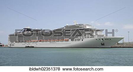 """Pictures of """"Cruise ship, MSC Splendida, in Port Vell, Barcelona."""