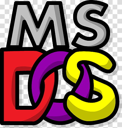 MS DOS Logo, Ms Dos advertisement transparent background PNG.