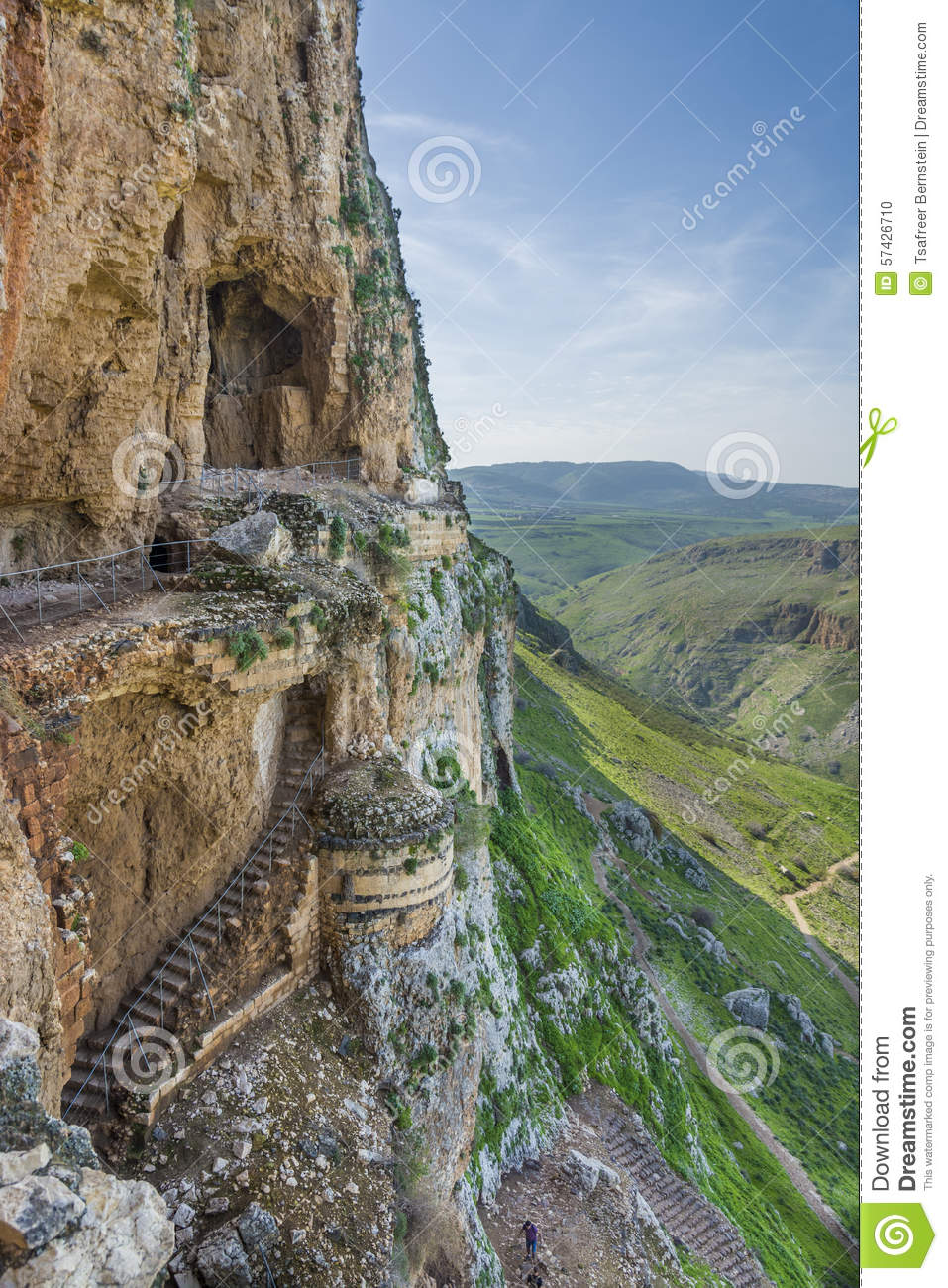 Mount Arbel Cliff Cave Fortress Stock Photo.