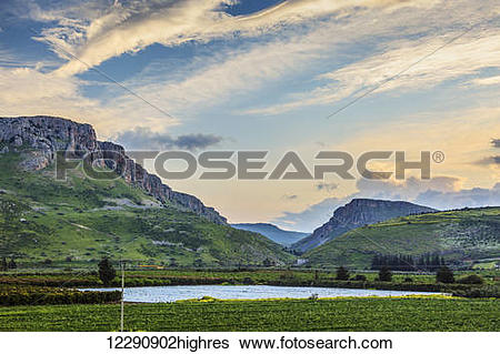 Stock Images of Mount Arbel and the Valley of Doves; Israel.