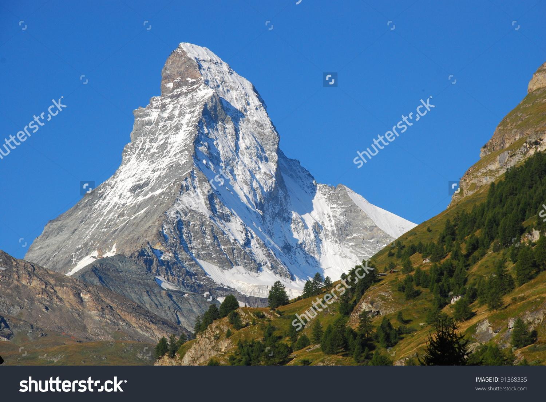Mountain Country Switzerland Autumn Mont Blanc Stock Photo.