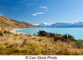 Pictures of Emerald glacier Lake Pukaki, Aoraki Mt Cook NP, NZ.