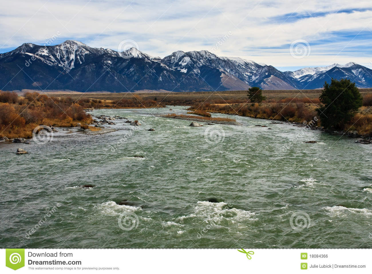 Madison River And Bridger Mountains, Montana. Royalty Free Stock.