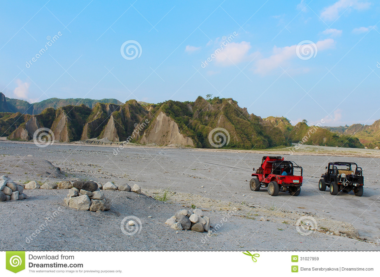 Tour To The Mount Pinatubo By The Filipino Jeeps Royalty Free.