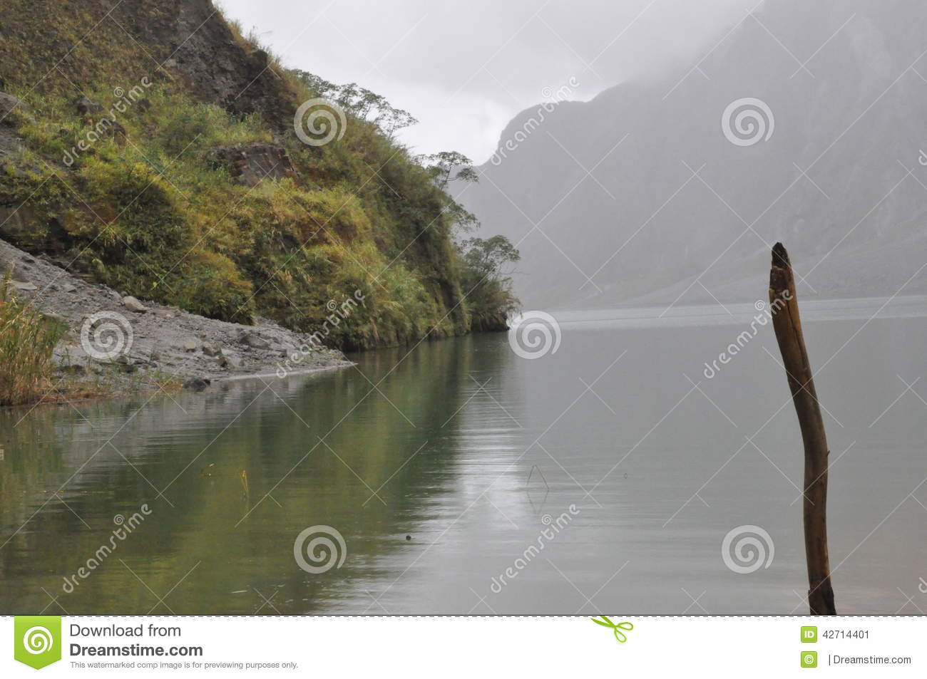 Reflection Of Mt, Pinatubo Crater , Philippines Stock Photo.