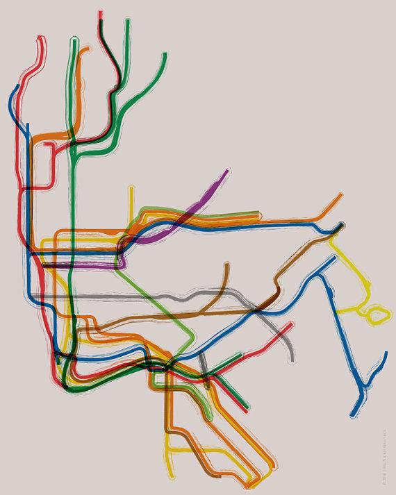 MTA Subway Map Clip Art.