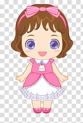 Munecas, girl wearing pink and white dress illustration.