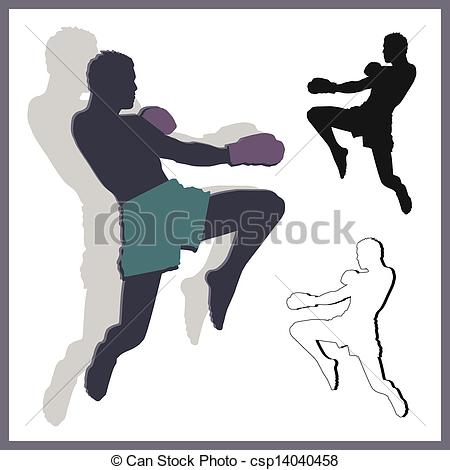 Clipart Vector of Flying knee of muay thai (Martial Arts) in.