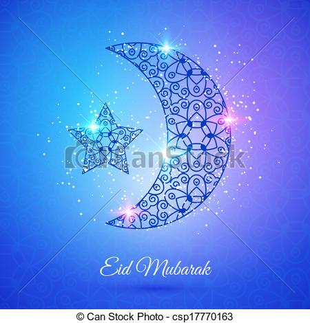 Clip Art Vector of Moon for Muslim community festival Eid Mubarak.