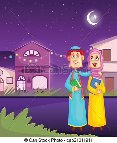 Vector Clip Art of Muslim kids wishing Eid mubarak,Happy Eid in.