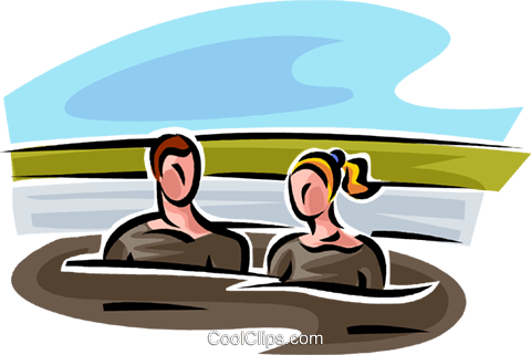 man and a woman in a mud bath Royalty Free Vector Clip Art.