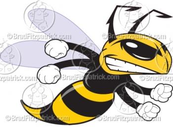 Cartoon Hornet Clipart Mascot Graphics.
