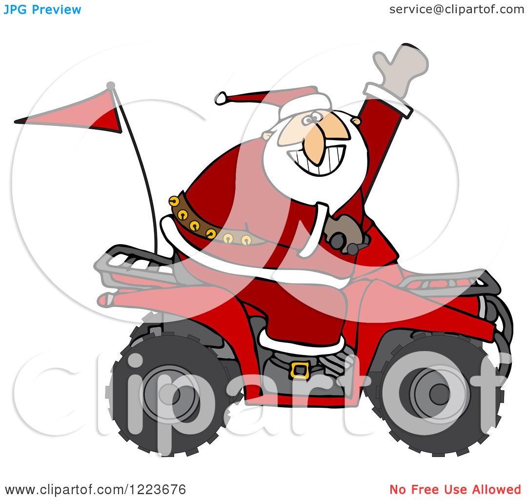 Clipart of Santa Waving and Driving an Atv Mud Bug.