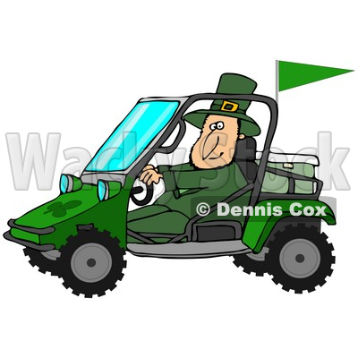Illustration of a St Patrick's Day Leprechaun In Green, Driving A.