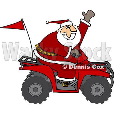 of Santa Waving and Driving an Atv Mud Bug.