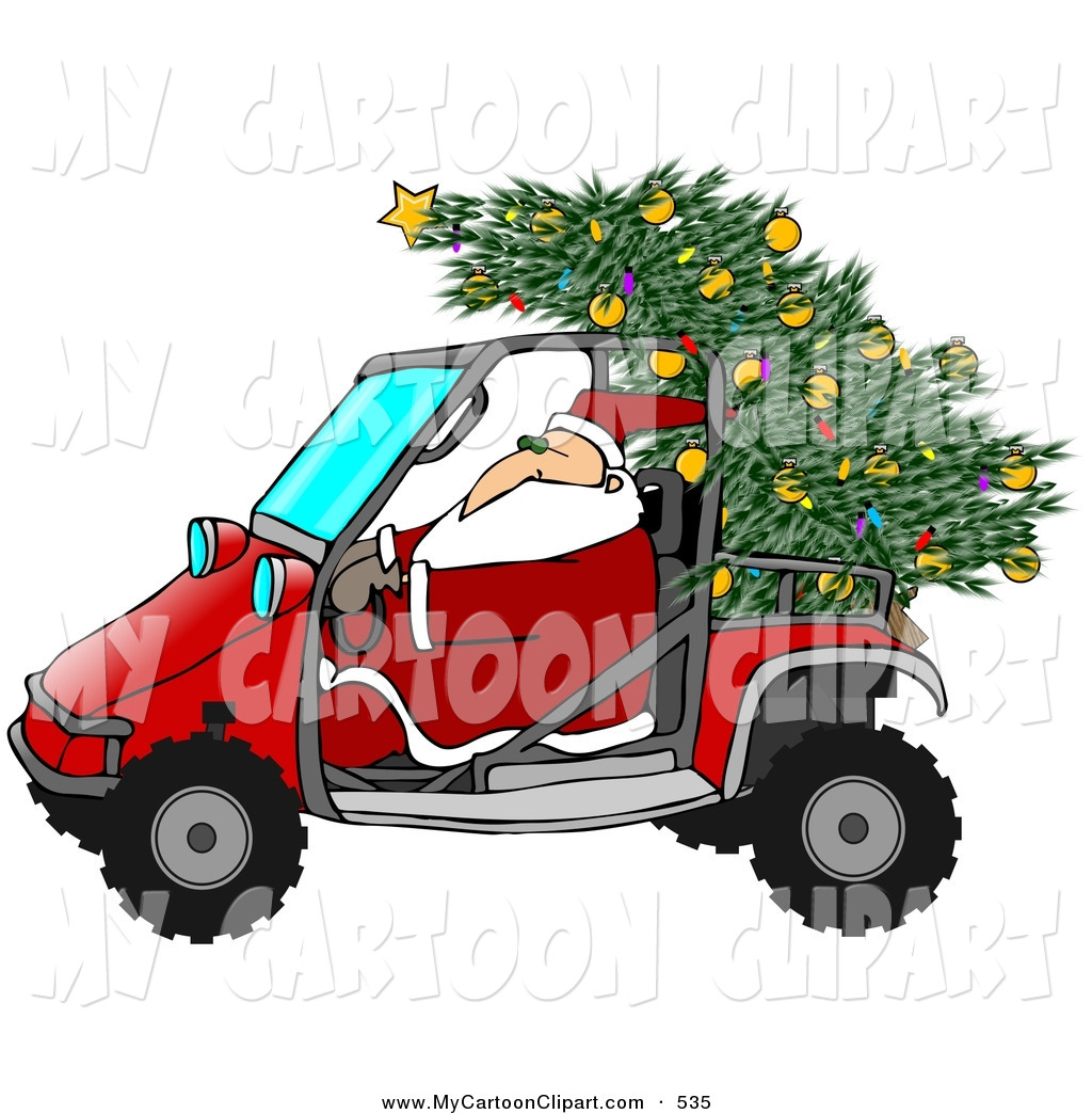 Clip Art of a Santa Claus Driving a Mud Bug with a Christmas Tree.