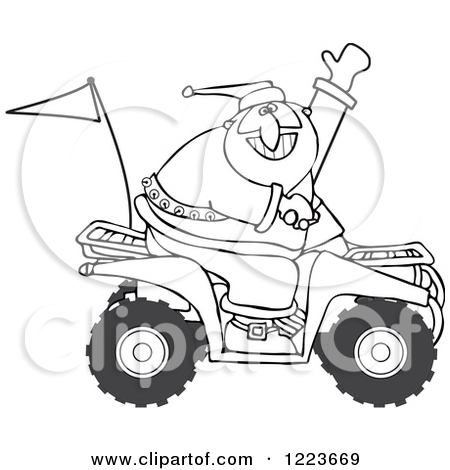 Clipart of an Outlined Santa Waving and Driving an Atv Mud Bug.