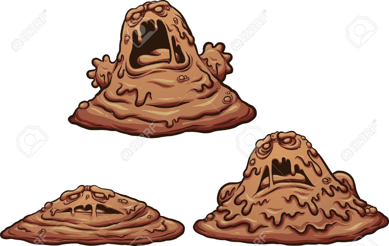 Cartoon mud monster growing up. Vector clip art illustration...