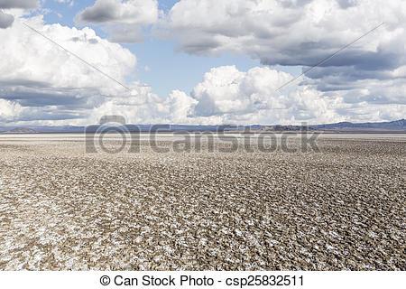 Stock Photography of Salty Desert Dry Lake Mud Flats.
