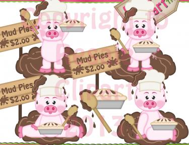 Mud Pies Piggies Clipart.
