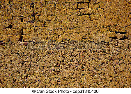 Stock Photography of Way of saint James adobe mud walls at.