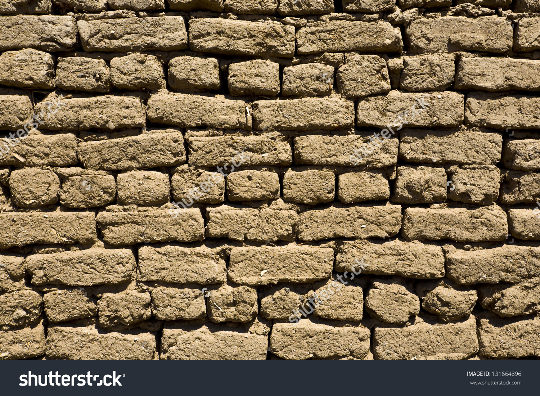 Texture Mud Brick Wall Stock Photo 131664896.