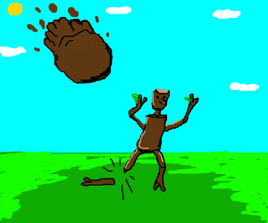 mud ball fall on stickman and a twig snaps (drawing by Copy).