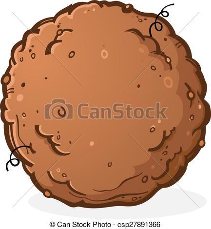 Clip Art Vector of Ball of Dirt or Poop Cartoon.