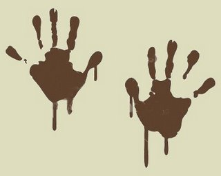 Muddy Handprints Clipart.