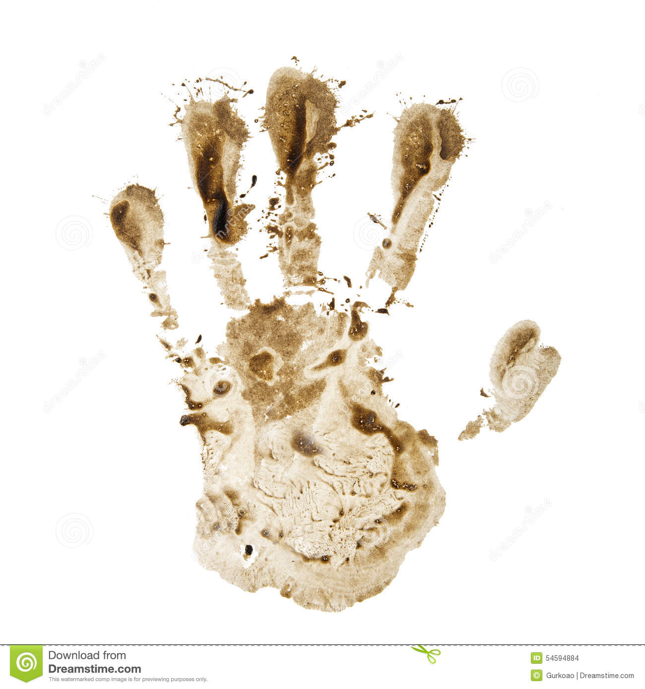 Dirty Hand Print Stock Photo.