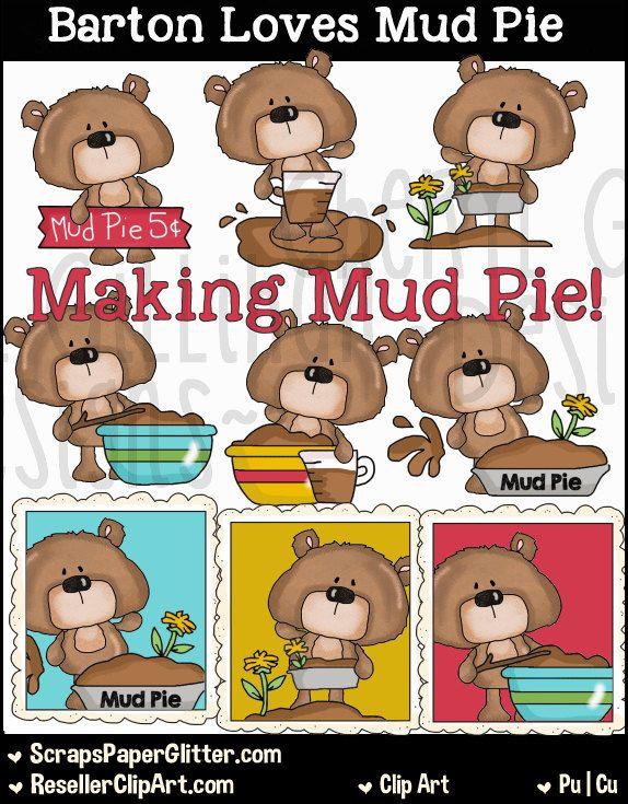 Barton Bear Loves Mud Pie Clip Art, Commercial Use, Clipart.