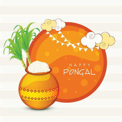Happy Pongal Celebration With Mud Pot And Sugarcane Clip Art.