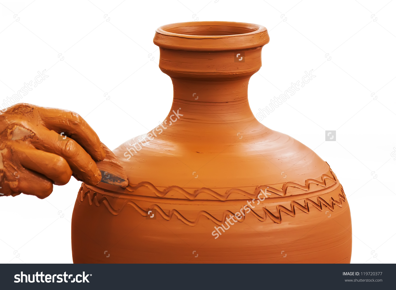 Potter Making Clay Pot Isolated On Stock Photo 119720377.