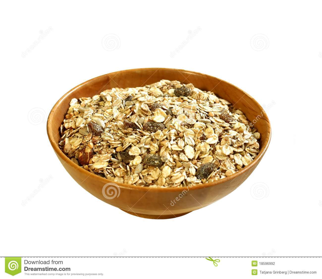 Muesli Of Oats With Raisin In Bowl Stock Photo.