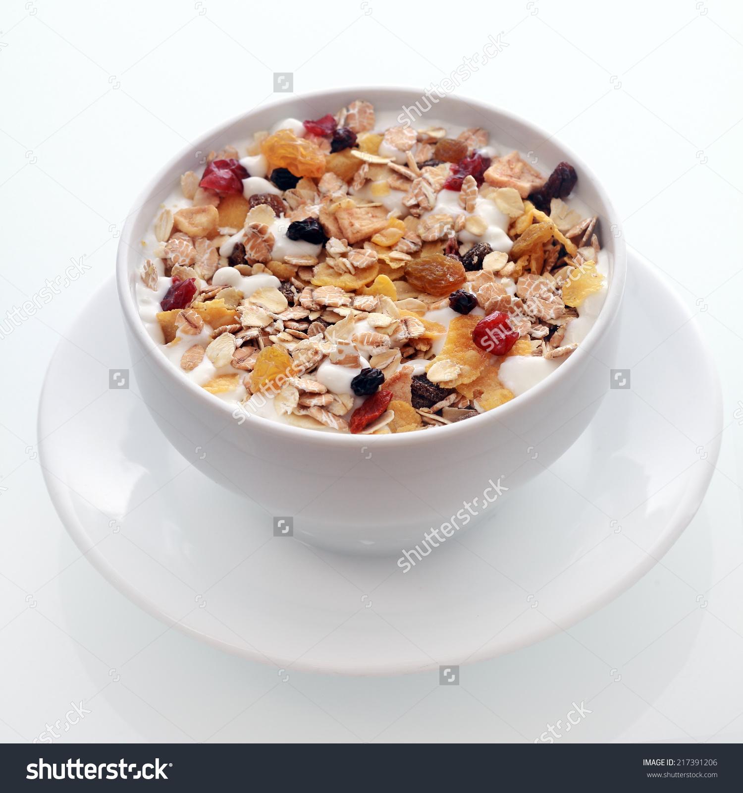 Bowl Delicious Breakfast Muesli Oat Wheat Stock Photo 217391206.