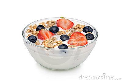 Fruit Yoghurt And Muesli Royalty Free Stock Photos.