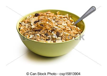 Stock Photography of crunchy muesli in bowl on white background.
