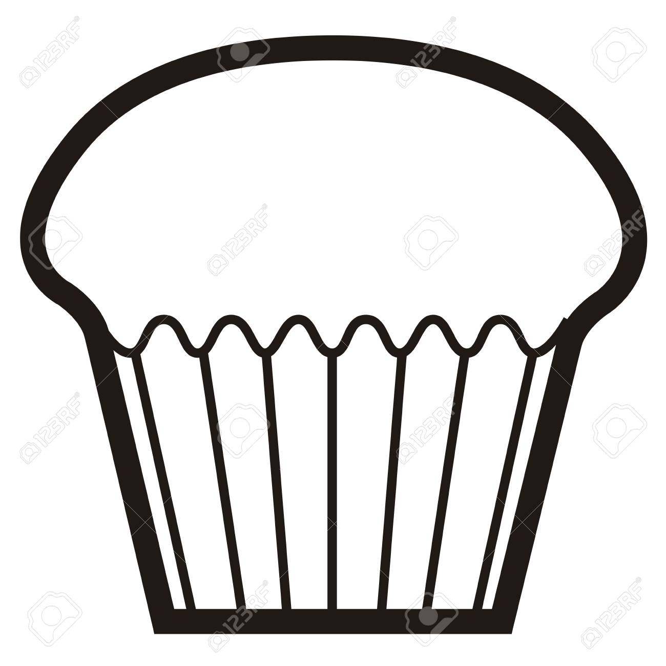 Isolated muffin icon in black and white illustration..