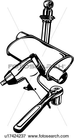 Clip Art of , elements, sign, tools, muffler, drill, socket.