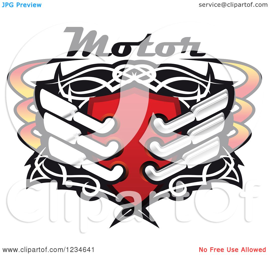 Clipart of a Motor Text over a Red Shield with Tribal Designs and.