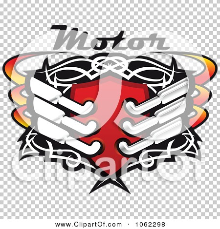 Clipart Shield With Mufflers And Motor Text.