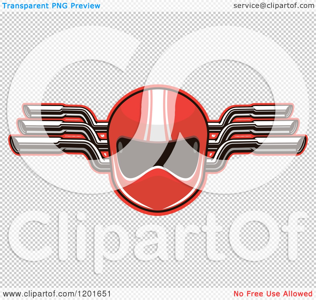 Clipart of a Red Race Car Driver Helmet and Mufflers.