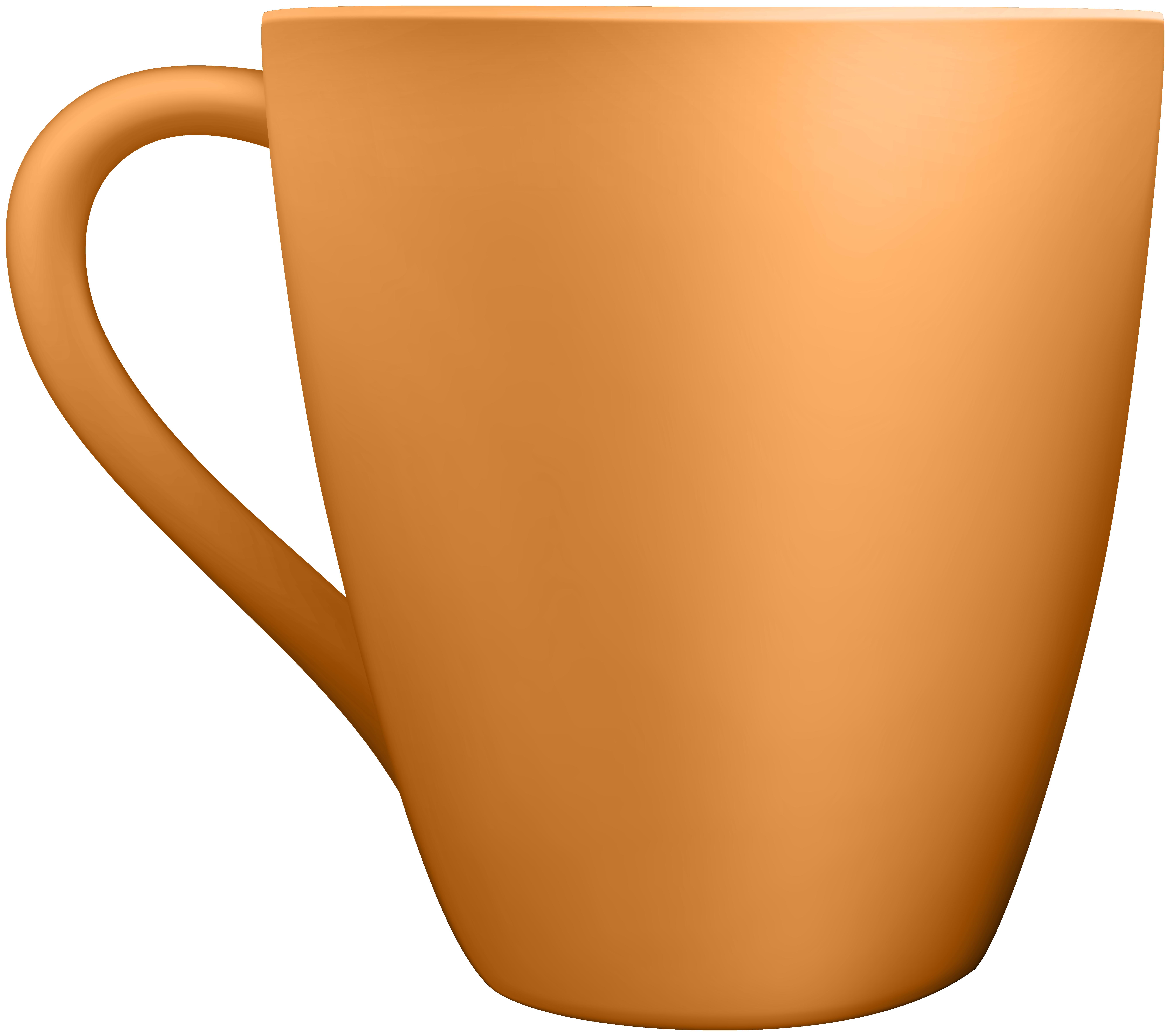 Orange Ceramic Mug Clip Art.