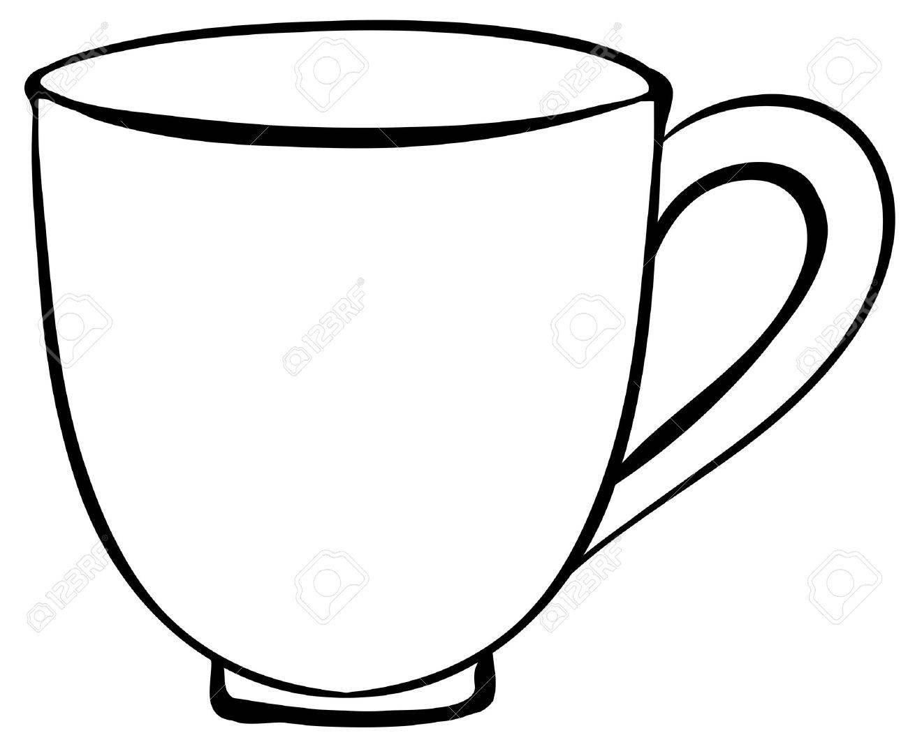 Closeup Plain Design Of Coffee Cup Royalty Free Cliparts.