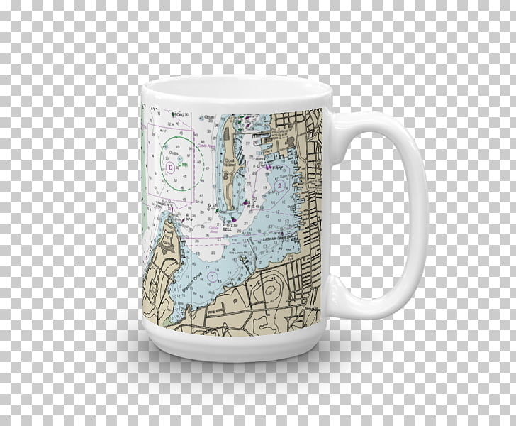 Coffee cup Mug Nautical chart Ceramic Porcelain, 3 Mug.