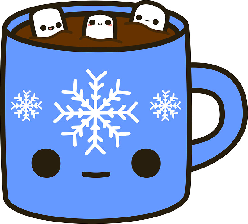 Hot Chocolate clipart, blue hot chocolate.