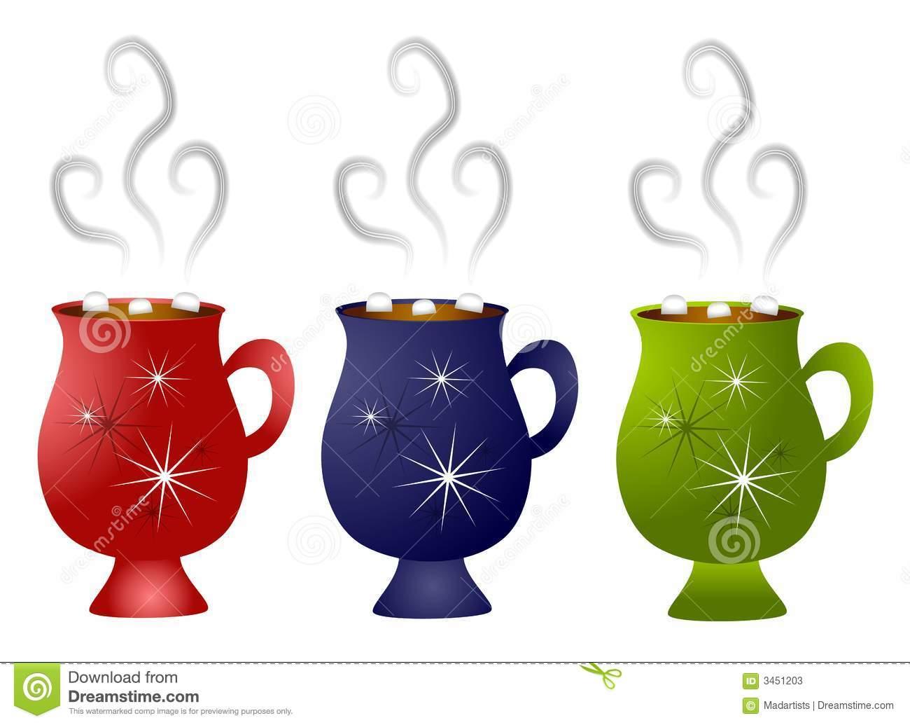Christmas Hot Chocolate Mugs Stock Illustration.