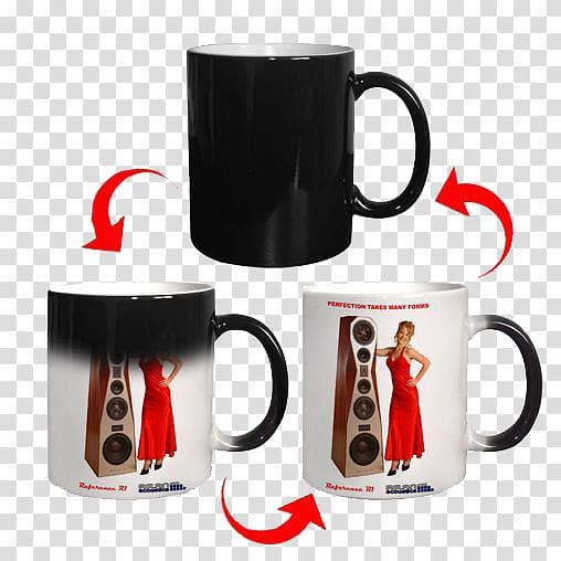 Black and white ceramic magic mug, Magic mug Printing.