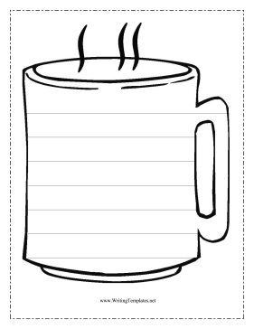 The coffee cup in this free, printable writing template.